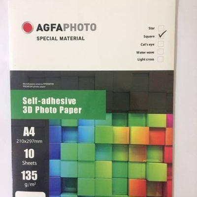 Фотобумага AGFA глянцевая, самоклеящаяся 3D