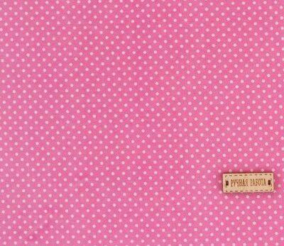 Ткань на клеевой основе «Розовая в белый горошек»